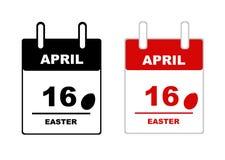 Illustration of easter calendar 2017. On white Royalty Free Stock Photo