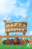 Illustration of easter day with an egg on green grass blooming flower and blue sky white fence ,with word on wood broad ,copy spac. E for word or text Royalty Free Stock Photography