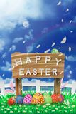 Illustration of easter day with an egg on green grass blooming flower and blue sky white fence ,with word on wood broad ,copy spac. E for word or text Royalty Free Stock Images
