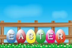 Illustration of easter day with an egg on green grass blooming flower and blue sky white fence ,with word on wood broad ,copy spac. E for word or text Royalty Free Stock Photos