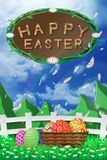 Illustration of easter day with an egg on green grass blooming flower and blue sky white fence ,with word on wood broad ,copy spac. E for word or text Royalty Free Stock Image