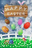 Illustration of easter day with an egg on green grass blooming flower and blue sky white fence ,with word on wood broad ,spring fe. Stival Stock Images