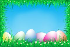 Illustration of easter day with an egg on green grass blooming flower frame with blue sky ,copy space for a word and text ,spring. Festival Stock Photos