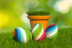 illustration_easter_egg_Pot 3d di erba Immagini Stock