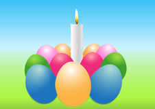 Easter egg with a candle Royalty Free Stock Image