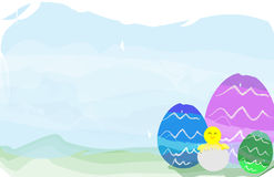 Illustration of Easter eggs and chick Royalty Free Stock Photos