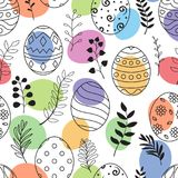 Easter eggs and flowers hand drawn black with ornaments and colored eggs on white background. Illustration of Easter eggs and flowers hand drawn black with Royalty Free Stock Photo