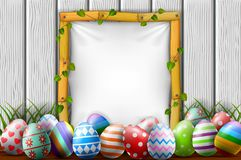 Easter eggs in the garden with blank frame. Illustration of easter eggs in the garden with blank frame Royalty Free Stock Photos
