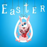 Illustration of Easter Funny Rabbit with blue background Stock Image