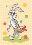 Illustration of easter rabbit caring a basket on vintage backgro Stock Images