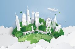 Green city on the sky. Illustration of eco concept,green city on the sky. Paper art and digital craft style stock illustration
