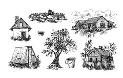 Illustration eco farm. Beautiful hand drawn  illustration eco farm. Sketch style Royalty Free Stock Images
