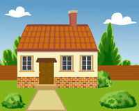 Illustration of a Ecological house Stock Photo