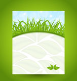 Ecology card with green grass and eco leaves Stock Image