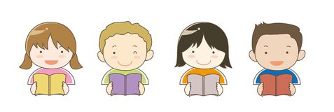 Children in the world who is reading books vector illustration