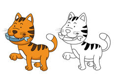 Illustration of educational coloring book -cat Stock Photo