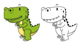 Illustration of educational coloring book-dinosaur Stock Photos