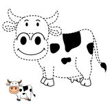 Illustration of educational game for kids and coloring book-cow Stock Photography