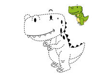 Illustration of educational game for kids and coloring book-dino Stock Images