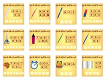 Educational spelling scramble game royalty free illustration