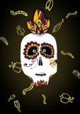 Illustration effrayante et drôle de crâne pour Halloween et diamètre de muerte sur le fond noir illustration libre de droits