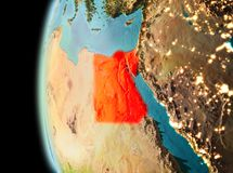 Evening view of Egypt on Earth. Illustration of Egypt as seen from Earth's orbit in late evening. 3D illustration. Elements of this image furnished by NASA Stock Photography