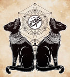 Illustration of Egyptian cat with eye of Horus. Stock Photography
