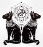Illustration of Egyptian cat with eye of Horus. Stock Images