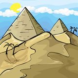 Illustration of Egyptian Pyramids. Sky and sun behind Stock Photos