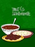 Illustration for eid celebration. Eid mubarak background with sweet dishes stock illustration