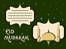 Illustration for eid mubarak. Green twinkle star background with card for eid mubarak Vector Illustration