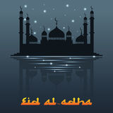 Illustration of Eid Mubarak background with mosque Stock Photography