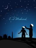 Illustration for eid mubarak celebration. Night background with kids indicating moon stock illustration
