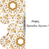 Illustration of Eid Mubarak greeting card with round ornate moroccam ornament. Stock Image