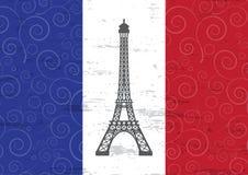 illustration of eiffel tower against France flag. EPS Royalty Free Stock Photos