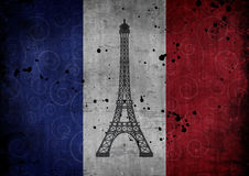Illustration of eiffel tower against France flag. With scratches and stains Stock Photos