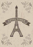 illustration of eiffel tower with floral elements Stock Images