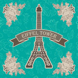 illustration of eiffel tower with floral elements Royalty Free Stock Images