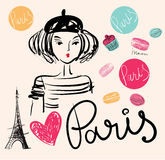 Illustration with Eiffel tower Stock Images
