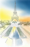 Illustration of eiffel tower Stock Image