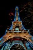 Illustration of Eiffel Tower - Paris, France. Illustration of Eiffel Tower with dramatic sky - Paris, France stock images