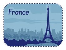 Illustration with Eiffel Tower in Paris Stock Photo