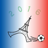 Illustration of Eiffel tower playing soccer. A vector illustration of the Eiffel tower playing soccer on the french flag coloured background, great icon for Euro Royalty Free Stock Photo