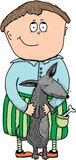 Illustration - ein Junge mit einem Hund Lizenzfreie Stockbilder
