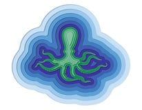 Illustration einer überlagerten Krake im Ozean Stockfoto