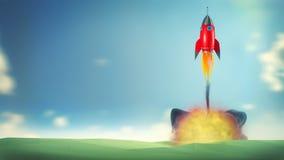 Illustration einer beginnenden roten Karikaturrakete auf blauem Himmel mit a Lizenzfreie Stockfotos