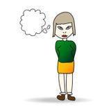 Illustration einer einfachen farbigen Skizze eines Mädchens Lizenzfreie Stockfotografie