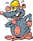 Illustration einer erschrockenen Ratte mit gelbem Sturzhelm Stockbilder