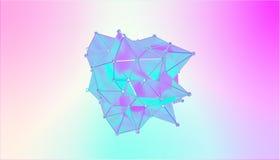 Illustration einer Formmetamorphose eines polygonalen halb transparenten Modells Mehrfarben-Illustration 3D von einem polygonalen lizenzfreie abbildung