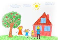 Illustration einer glücklichen Familie mit einem Apfelbaum und einem Haus stockbild
